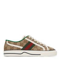 Gucci Beige Gg Supreme 1977 Tennis Sneakers