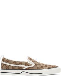 Gucci Beige Brown Tennis 1977 Slip On Sneakers