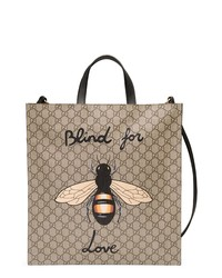 Tan Print Canvas Tote Bag