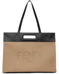Fendi Beige Black Canvas Shopping Tote