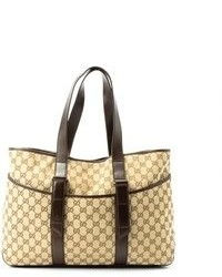 Gucci Pre Owned Beige Gg Canvas Shopper Tote