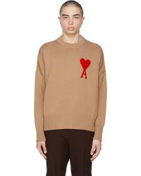 AMI Alexandre Mattiussi Beige Oversize Ami De Coeur Sweater