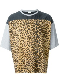 Saint Laurent Leopard Print Panel T Shirt