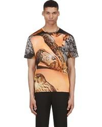 Richard Nicoll Tan Grey Layered Snake Graphic T Shirt