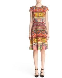 Etro Ribbon Print Cap Sleeve Dress