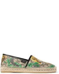 Gucci Leather Trimmed Printed Coated Canvas Espadrilles