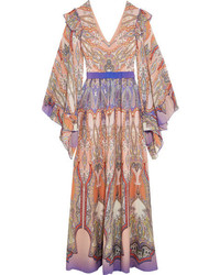 Etro Ruffled Printed Silk Georgette Gown Blush