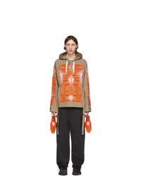 Craig Green Khaki And Orange Cagoule Embroidered Hoodie