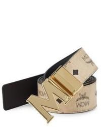 MCM Logo Print Leather Belt