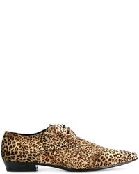 Saint Laurent Leopard Print Derby Shoes