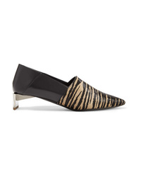 Loewe Tiger Print Calf Hair And Leather Collapsible Heel Pumps