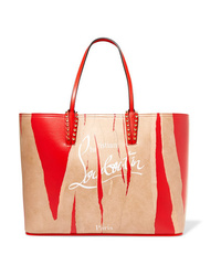 Christian Louboutin Cabata Kraft Studded Printed Leather Tote