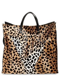 Clare Vivier Clare V Genuine Calf Hair Cheetah Print Tote Brown
