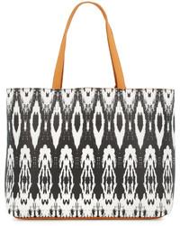 Neiman Marcus Ikat Print Reversible Tote Bag Camel