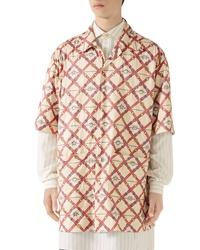 Gucci Belt Chess Longline Button Up Camp Shirt
