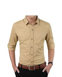 Tan Print Long Sleeve Shirt