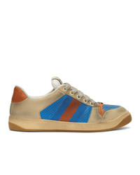 Gucci Blue And Orange Screener Sneakers