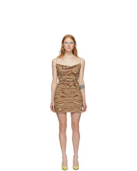 Maisie Wilen Brown And Beige Mesh Slip Dress