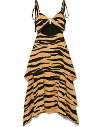Proenza Schouler Tiered Tiger Print Crepe Maxi Dress