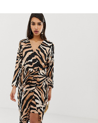 River Island Wrap Front Midi Dress In Tiger Print