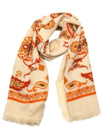 Gucci Beige And Orange Paisley Printed Wool And Silk Scarf