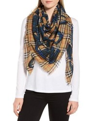 Burberry Marker Text Check Print Scarf