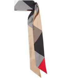 Printed silk twill scarf camel medium 5084124
