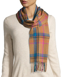Retro plaid print cashmere scarf vicuna medium 832059