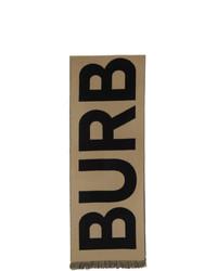 Burberry Tan Wool Logo Scarf