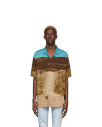 Marcelo Burlon County of Milan Beige And Blue Ostrich Shirt
