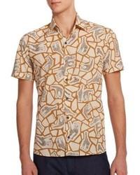 Salvatore Ferragamo Giraffe Print Cotton Sportshirt