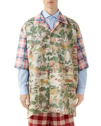 Gucci Oversize Feline Print Cotton Bowling Shirt