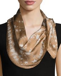 Roberto Cavalli Star Floral Printed Silk Scarf Camel