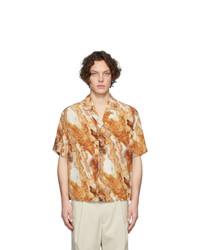 Deveaux New York Brown Silk Resort Shirt