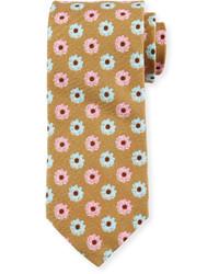 Peter Millar Flower Print Silk Cotton Blend Tie Khaki