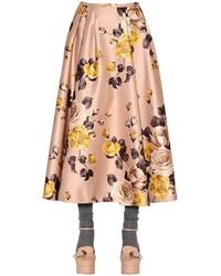 Rochas Printed Duchesse Midi Skirt