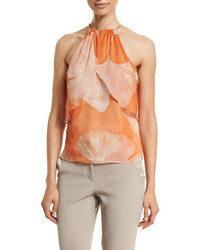 Halston Heritage Halter Neck Printed Top Terracotta Botanical
