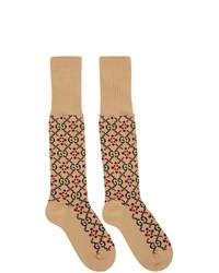 Tan Print Socks