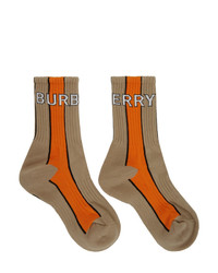 Burberry Beige And Orange Striped Logo Socks