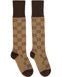 Gucci Beige Brown Gg Print Socks