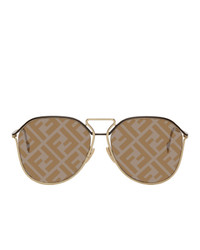 Fendi Gold And Brown Forever Round Sunglasses