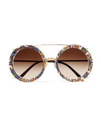 Dolce & Gabbana Round Frame Printed Acetate And Gold Tone Convertible Sunglasses