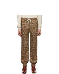 Gucci Brown Jacquard Rhombus Track Pants