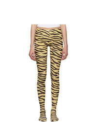 Gucci Black And Beige Zebra Print Tights