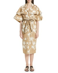 Johanna Ortiz Embellished Floral Print Trench Dress
