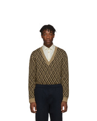 Gucci Brown G Rhombus V Neck Sweater