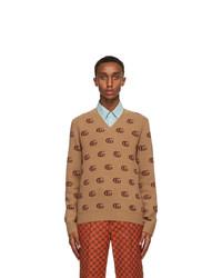 Gucci Tan Double G Jacquard V Neck Sweater