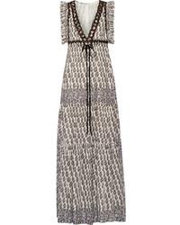 Tory Burch Amita Appliqud Printed Cotton Maxi Dress Brown