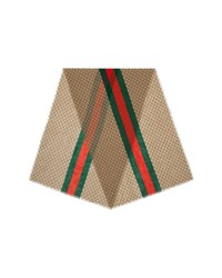 Gucci Web Stripe Gg Print Wool Scarf