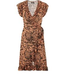 De La Vali Cadaques Ruffled Animal Print Wrap Dress